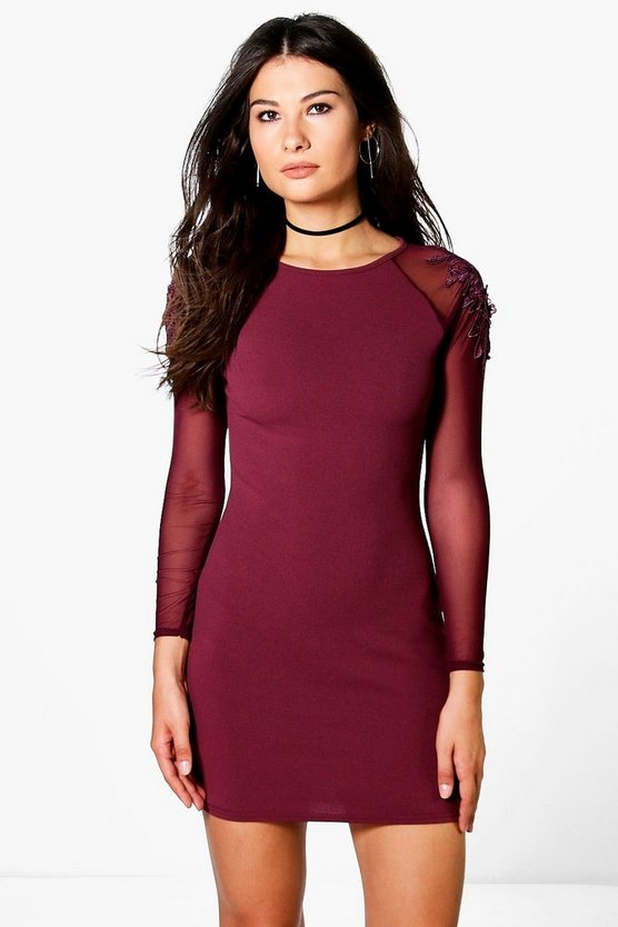 Lianne Crochet Shoulder Detail Bodycon Dress