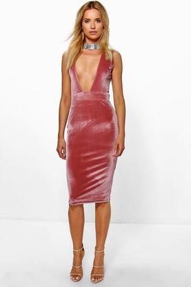 Eliza Velvet Plunge Neck Midi Bodycon Dress