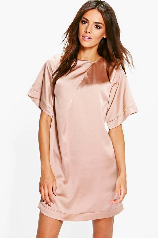 Gracie Satin Cap Sleeve Shift Dress