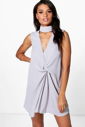 Belle High Neck Rouched Shift Dress