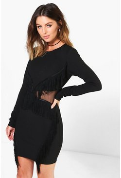 Mona Long Sleeve Tassel Bodycon Dress