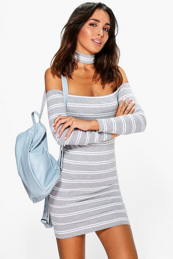 Leanne Striped Off Shoulder Choker Dress