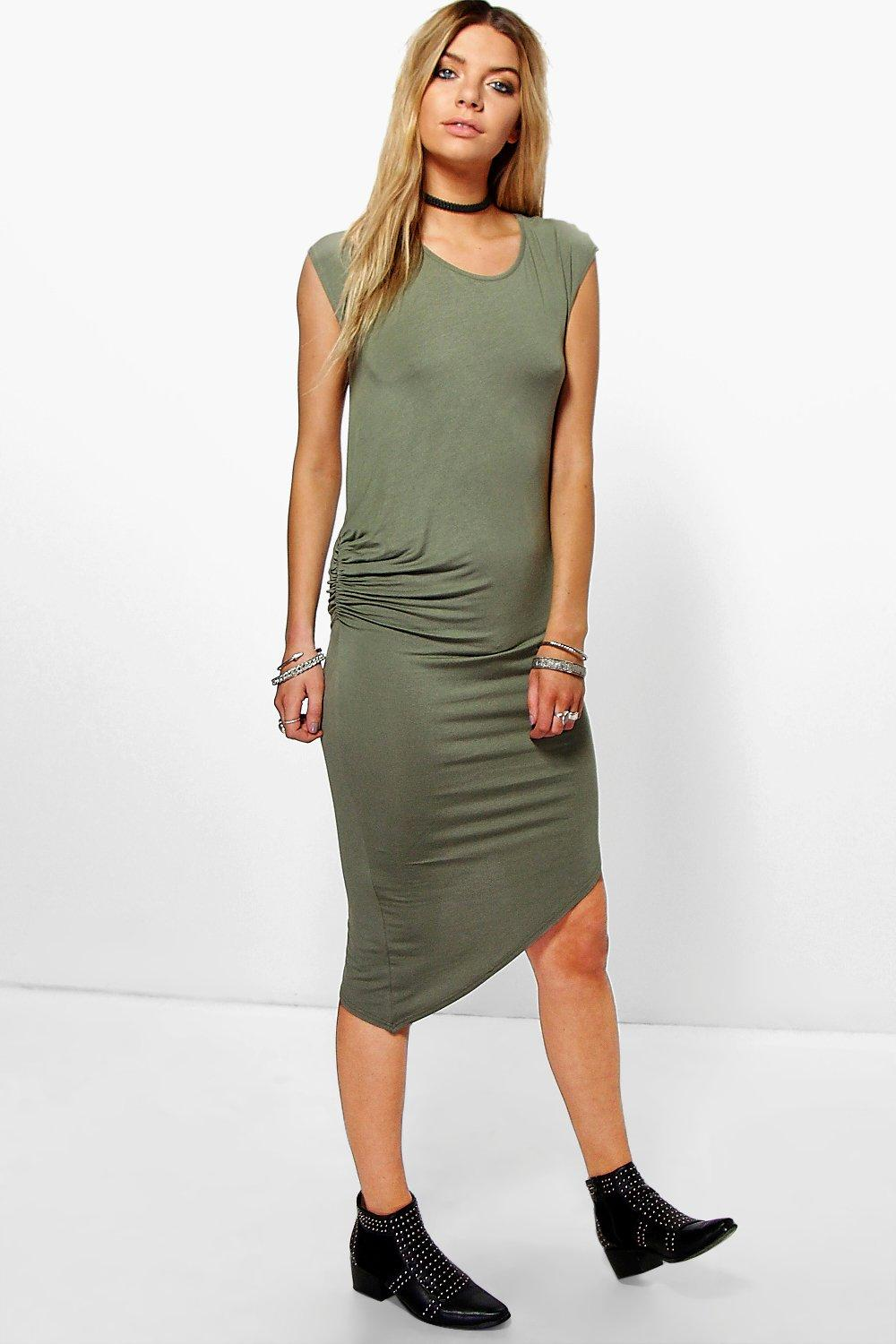 Sally Assymetric Basic Midi Dress