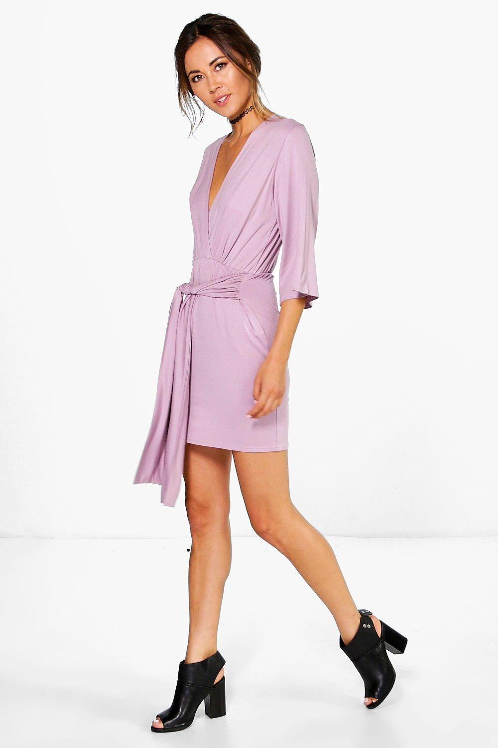 Carmel Wrap Front Plunge Neck Dress