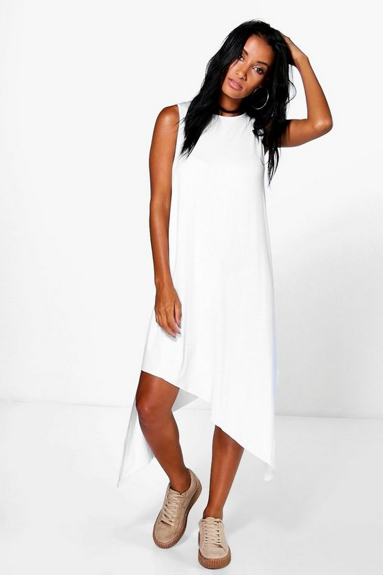 Amelia High Neck Assymetric Midi Dress