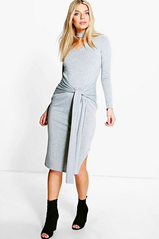 Hannah Split Front Choker Neck Midi Dress