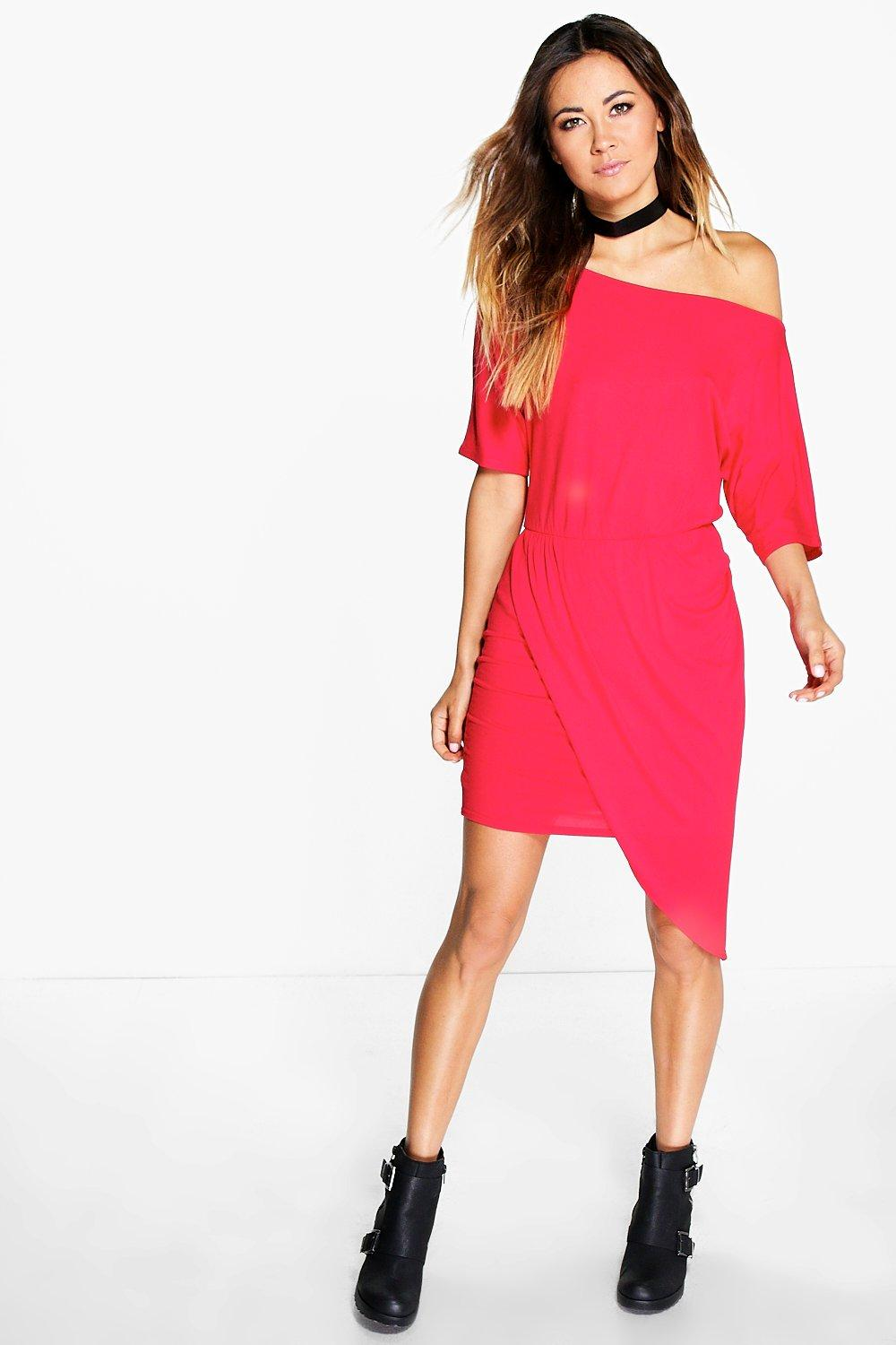 Verity Off Shoulder Rouched Wrap Dress