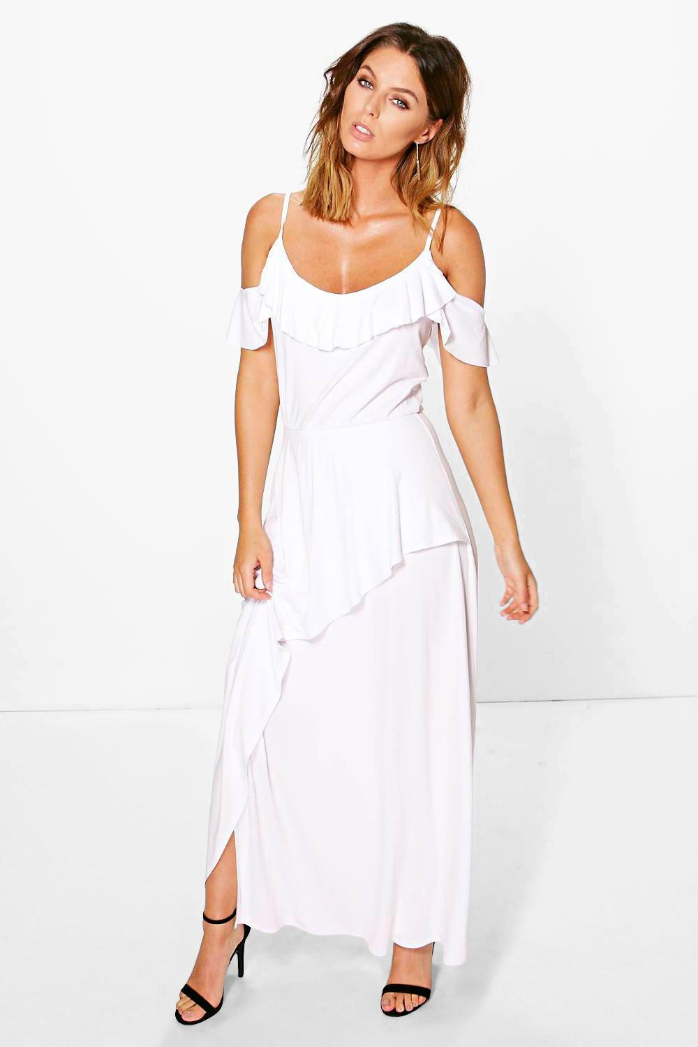 Ruffle Cold Shoulder Maxi Dress - white