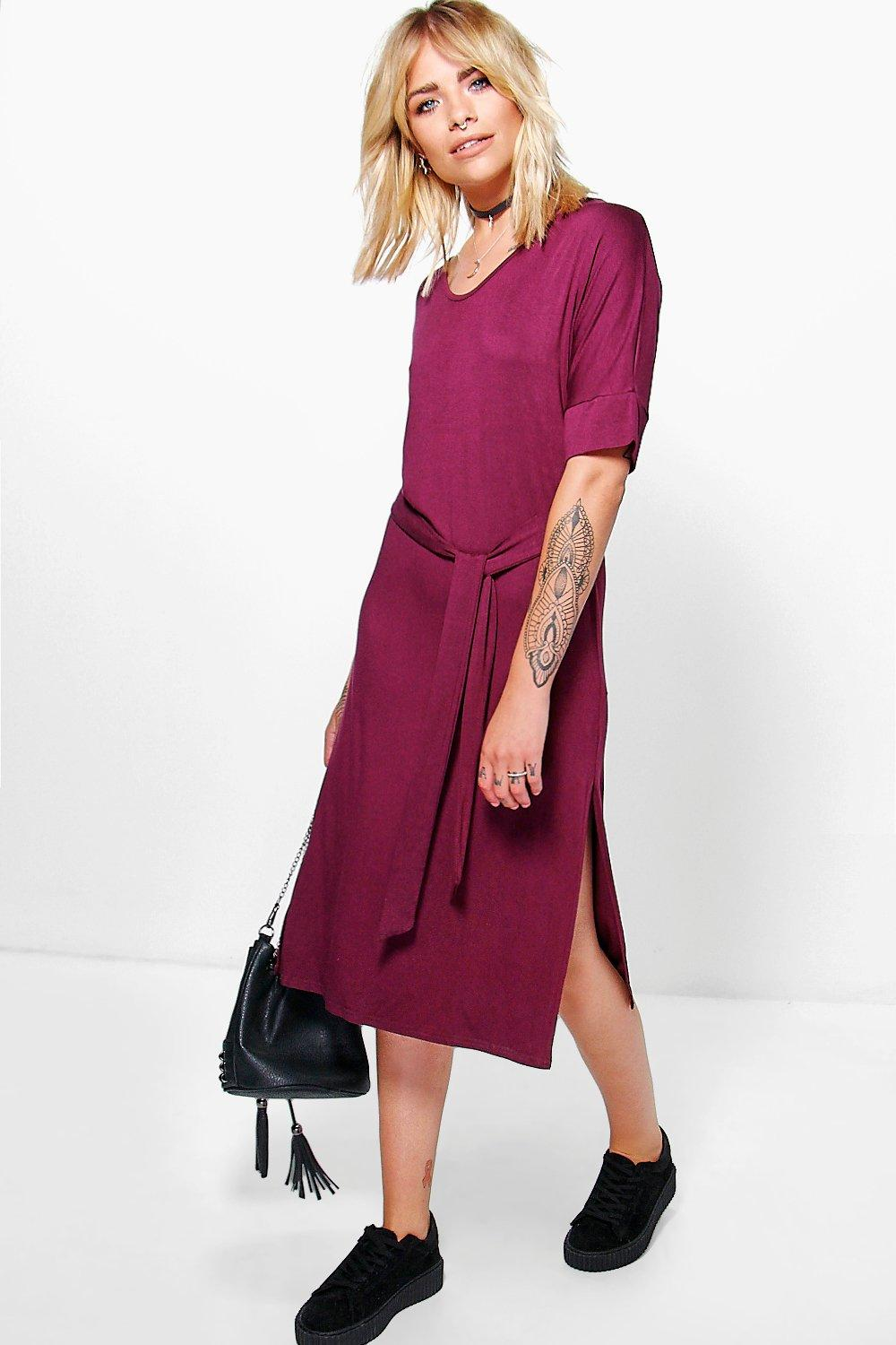 Lilly Tie Waist T-Shirt Midi Dress