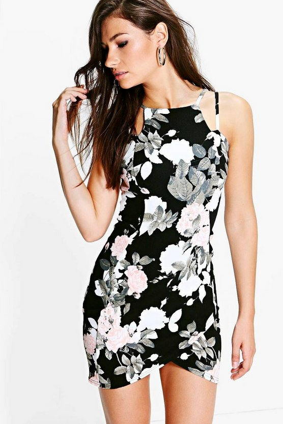 Hallie Floral Strappy Bodycon Dress