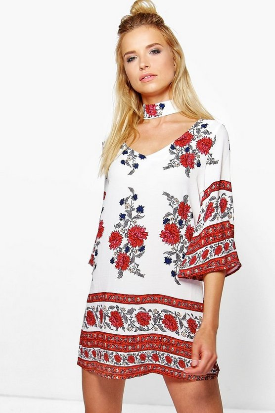 Sasha Choker Printed Shift Dress