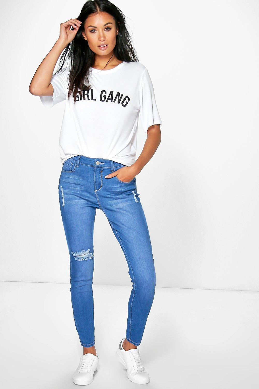 Meg Bright Blue Ripped Skinny Jeans