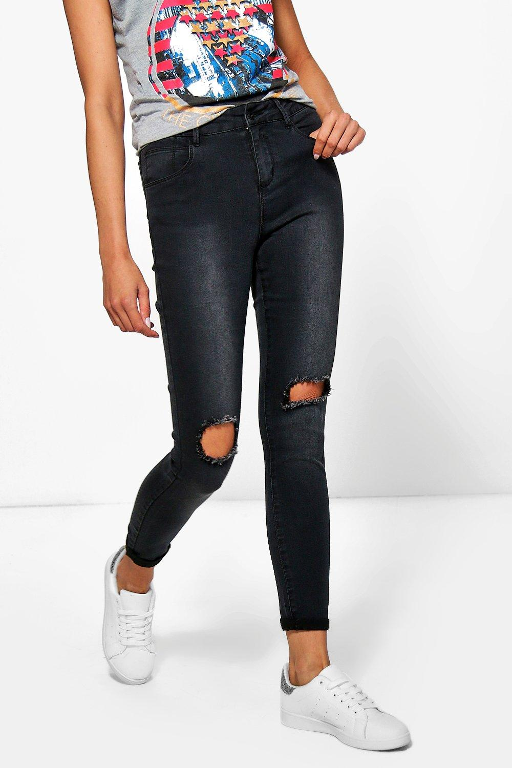 Kaia Mid Rise Open Knee Skinny Jeans
