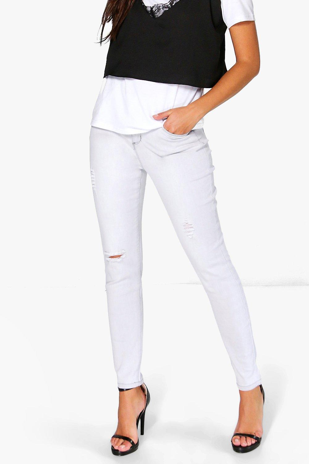Carly Distressed Mid Rise Light Grey Skinny Jeans