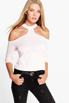 Lara Turtle Neck Open Shoulder Fine Knit Jumper