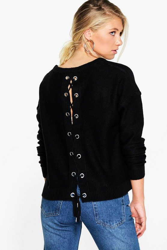 Emma Eyelet Lace Up Jumper