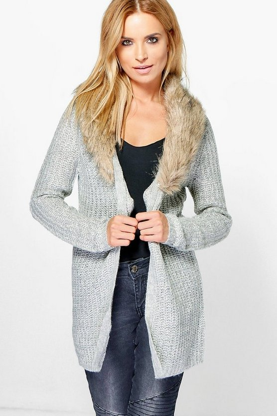 Sara Removable Faux Fur Trim Cardigan