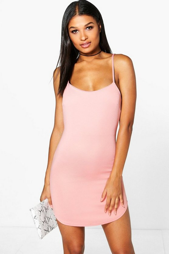 Caroline Ribbed Curved Hem Bodycon Dress