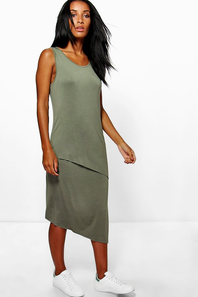 Maria Wrap Front Sleeveless Midi Dress