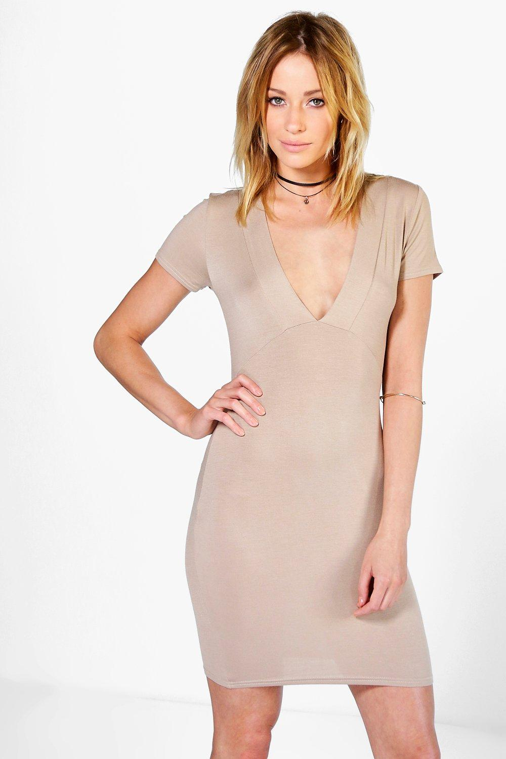 Amy Deep V Plunge Bodycon Dress