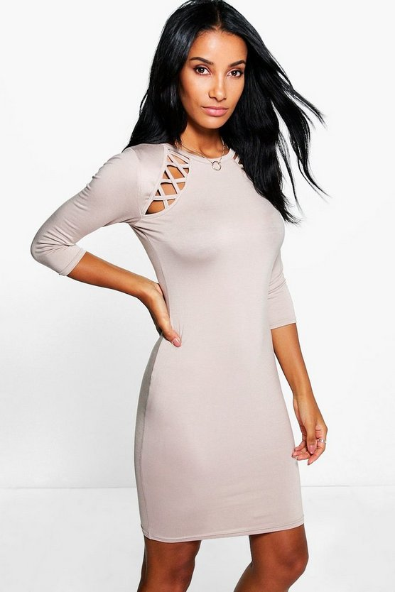 Sandra Lattice Cut Out Bodycon Dress