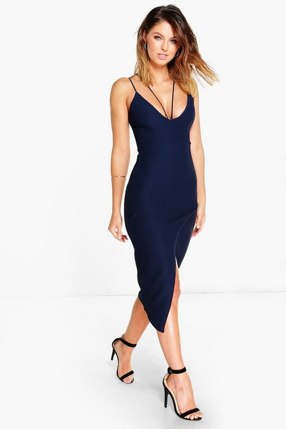 Brea Textured Strappy Asymmetric Midi Dress