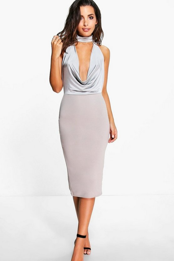 Amie Choker Cowl Neck Slinky Midi Dress