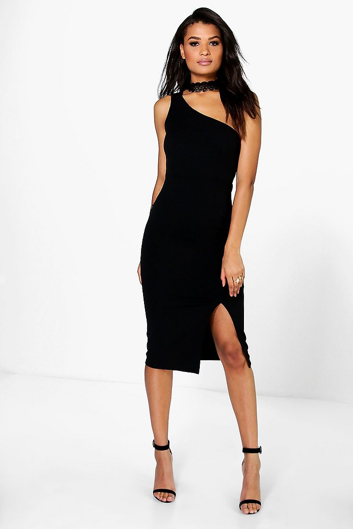 Josie One Shoulder Mesh Detail Midi Dress