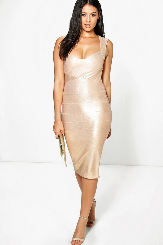 Agatha Metallic Detail Bandage Midi Dress