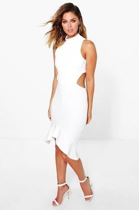 Brandy High Neck Peplum Hem Bodycon Dress