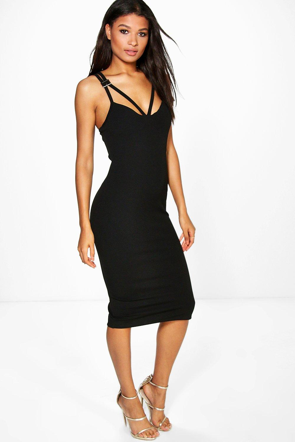 Anna Buckle Trim Detail Midi Bodycon Dress
