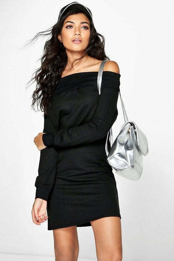 Isla Off Shoulder Long Sleeve Sweat Dress