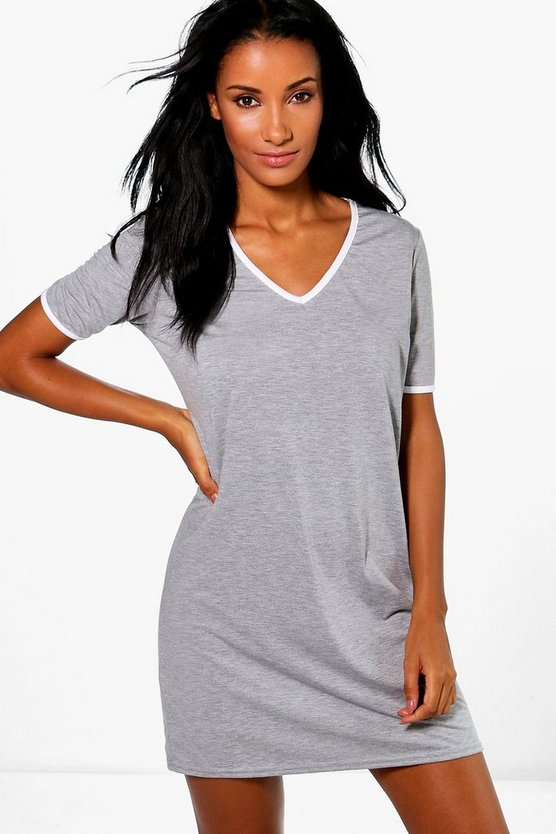 Maisie V Neck Contrast T-Shirt Dress