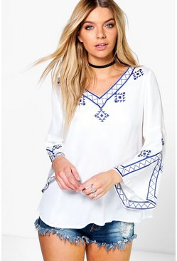 Lara Embroidered Flute Sleeve Blouse