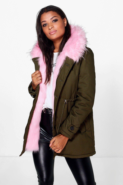 Eliza Faux Fur Hood Parka  blush