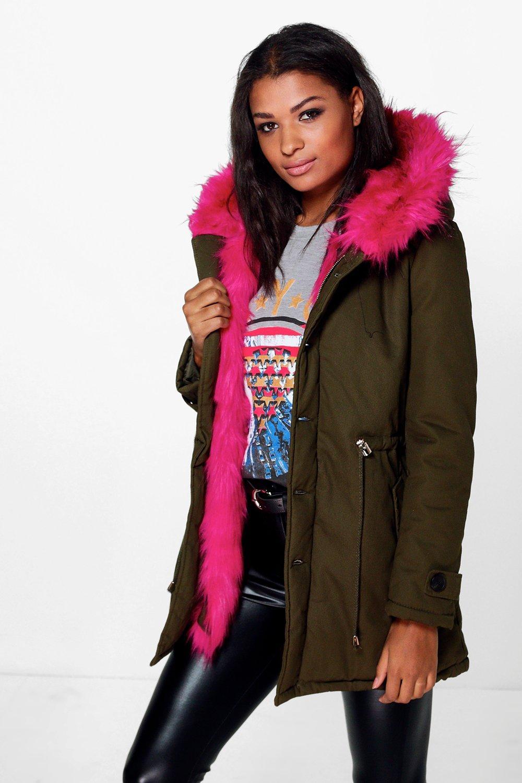 Eliza Faux Fur Hood Parka  pink