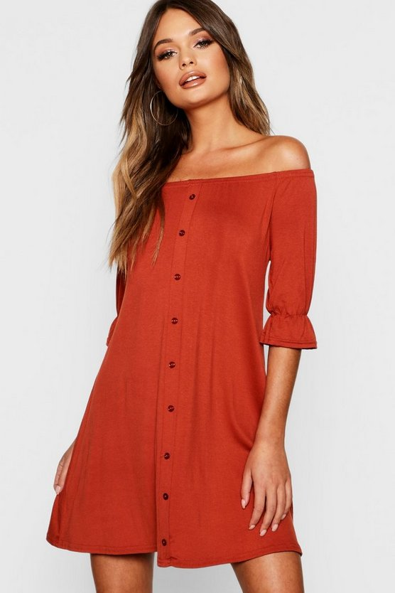 Lily Off The Shoulder Button Shift Dress