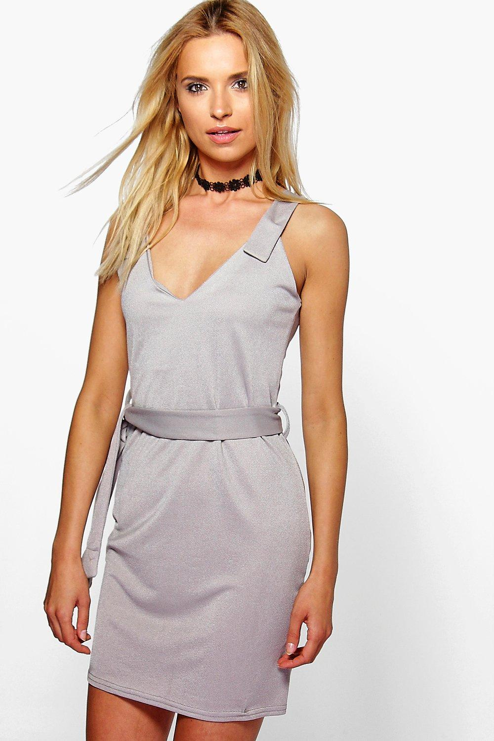 Clare Tab Top Belted Mini Shift Dress