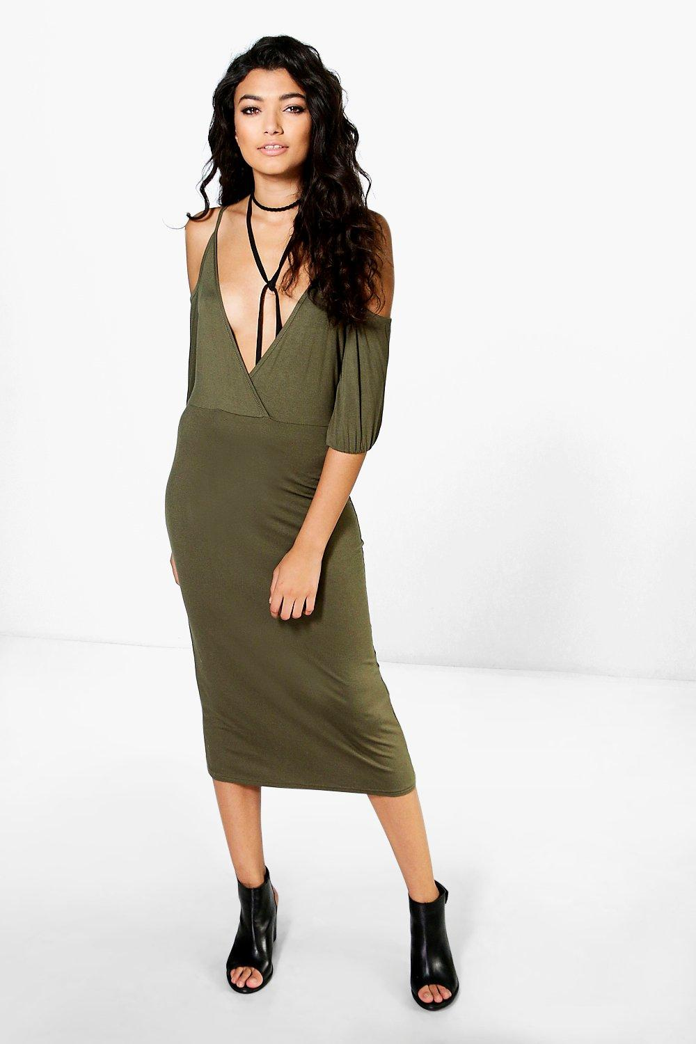 Wendy Cold Shoulder Wrap Top Midi Dress