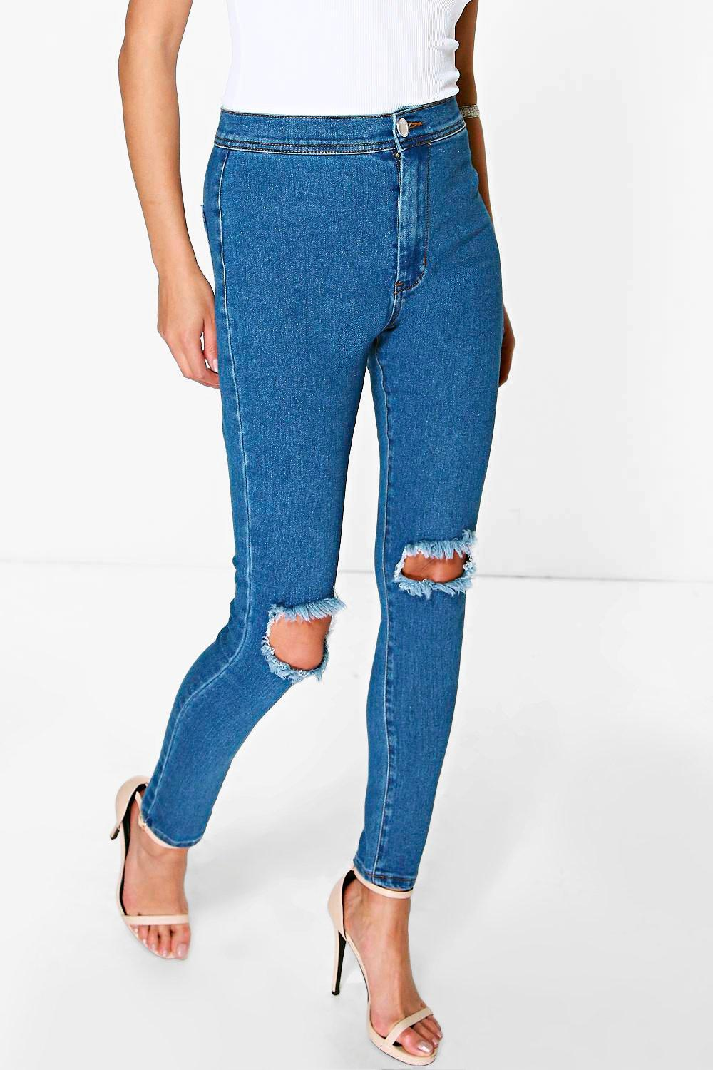 Lara High Rise Ink Blue Knee Slits Skinny Jeans