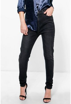 Nadia High Rise Washed Black Skinny Jeans