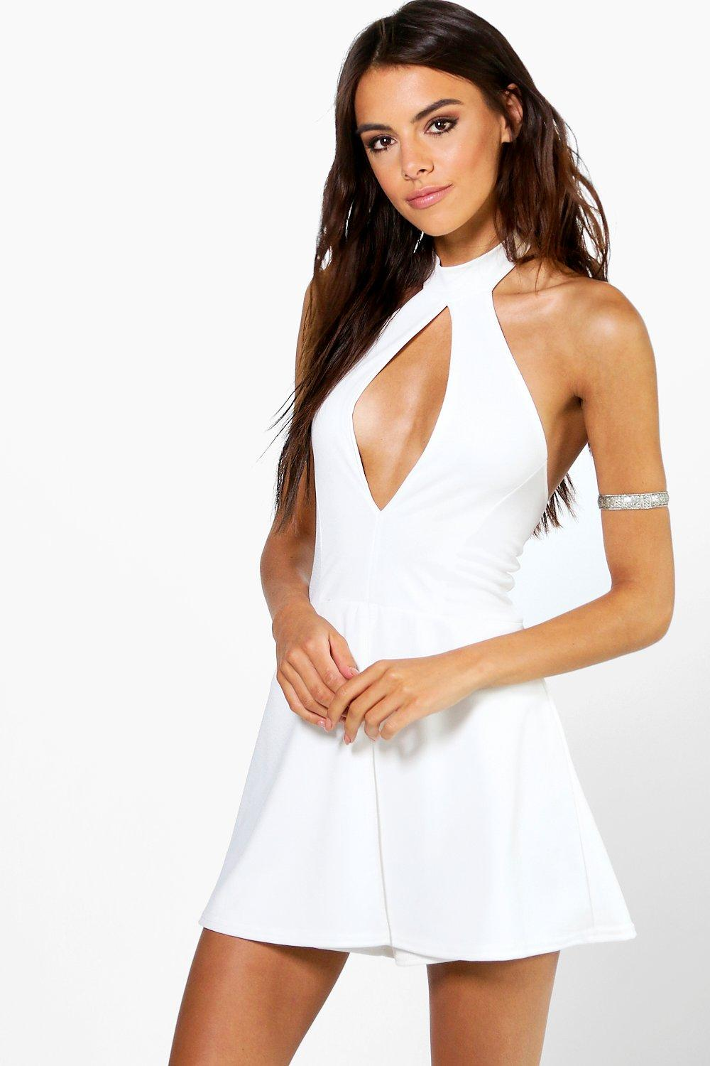 Hannah Wrap Over Skort Style High Neck Playsuit