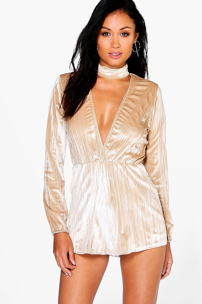 Julia Choker Style Crushed Velvet Playsuit
