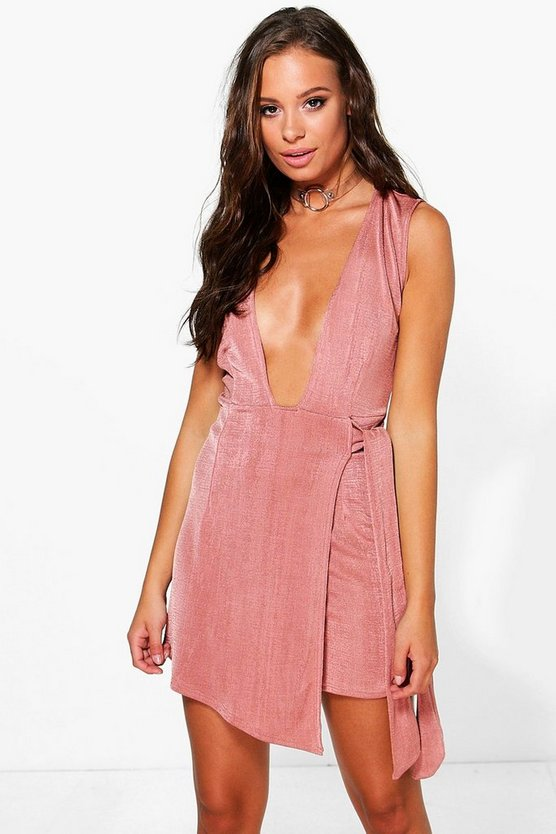 Maria Deep Plunge Evening Skort Playsuit