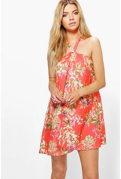 Bonnie Floral Tie Neck Bandeau Shift Dress