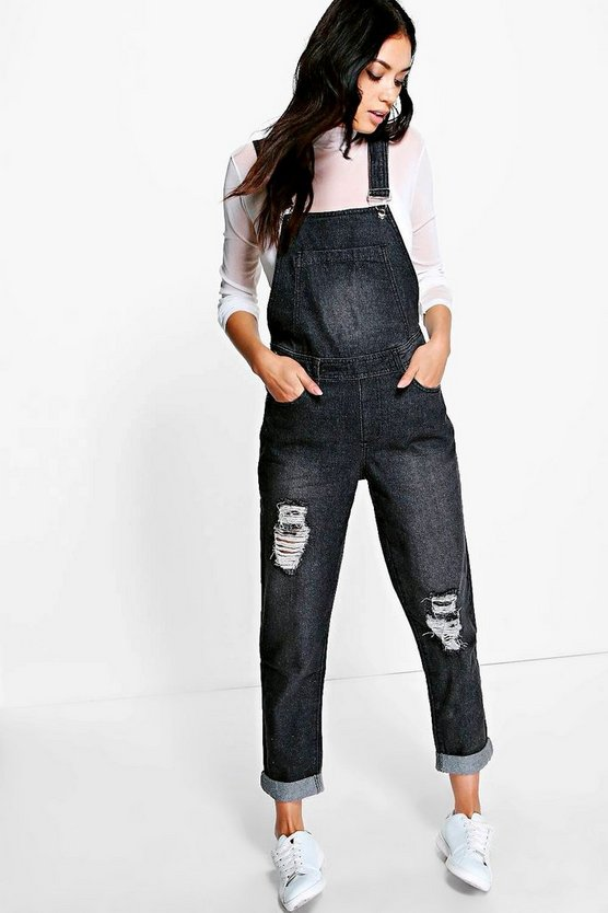 Emma Distressed Denim Dungarees