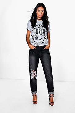 Hatty High Rise Cheeky Rip Boyfriend Jeans plus size,  plus size fashion plus size appare