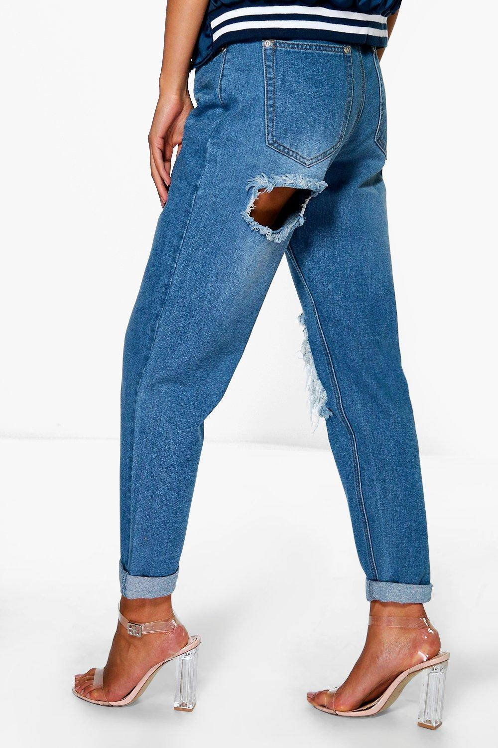 boohoo womens hatty high rise cheeky rip boyfriend jeans in blue size 8 ebay. Black Bedroom Furniture Sets. Home Design Ideas