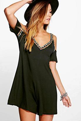 Elsa Embroidered Detail Open Shoulder Playsuit