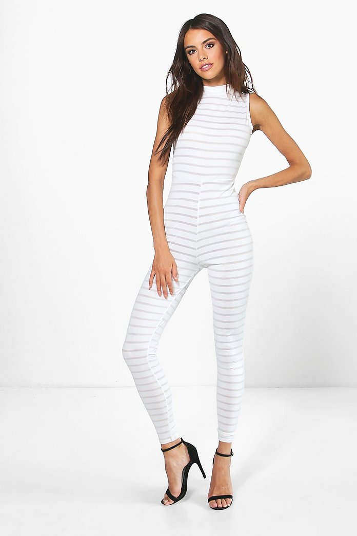 Holly High Neck Burn Out Stipe Jumpsuit